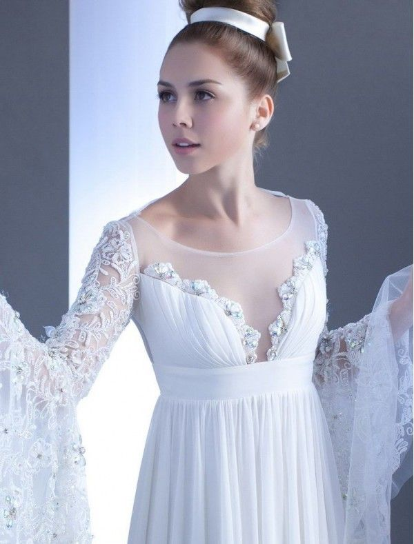Drop Waist Wedding Dresses Strapless Chapel Train Ivory Hvm