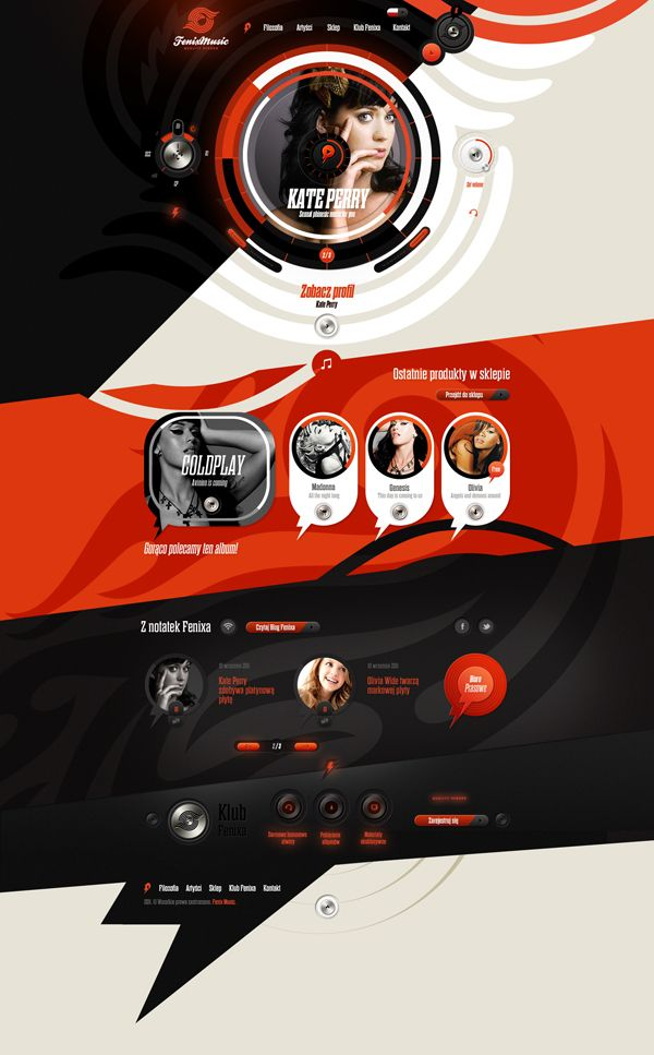 Fenix music website + iPad designs by Dominik Wasienko.