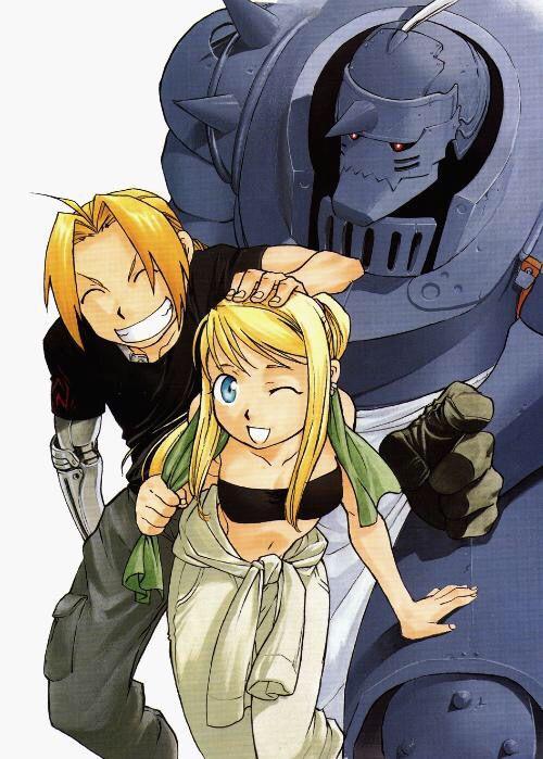 Fullmetal Alchemist Resembool Trio: Edward Elric, Alphonse Elric, & Winry Rockbell By manga creator Hiromu Arakawa