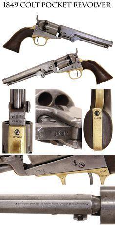 Colt 1849 Pocket Revolver: six-inch, six shot Colt pocket