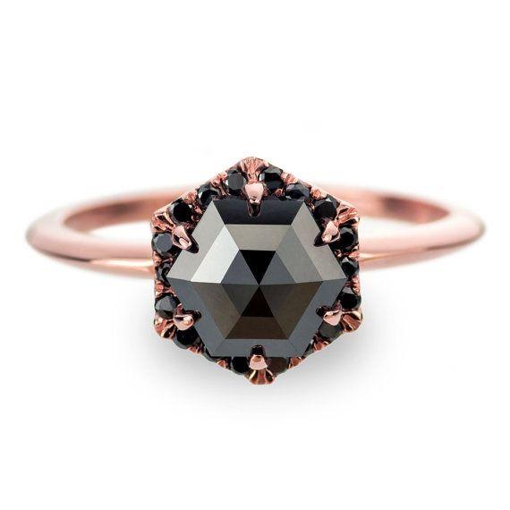 Black diamond engagement ring | Gorgeous non-traditional engagement ring | via http://emmalinebride.com/engagement/non-traditional-engagement-rings/