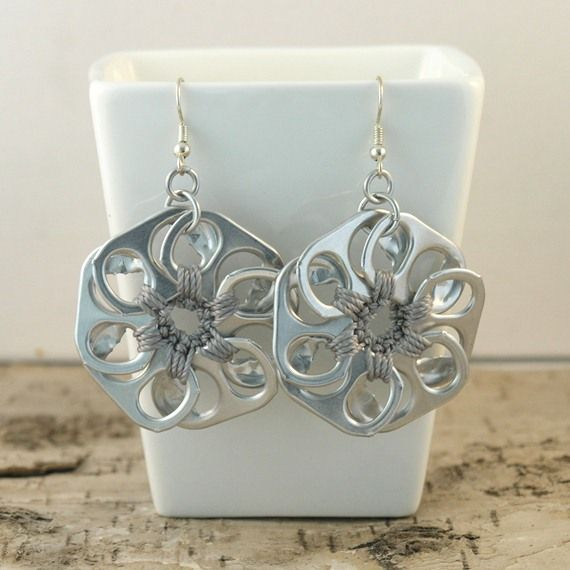 Metal grey pop tab flower earrings.  I would do one as a pendant.