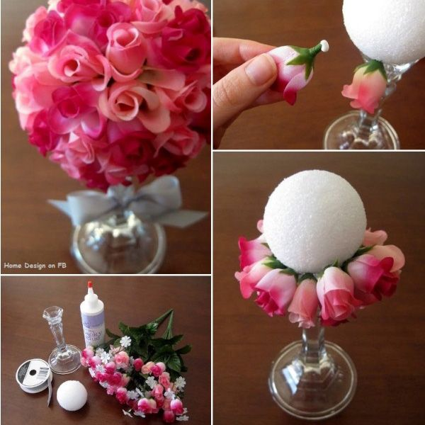 Create a lush faux floral arrangement with just a few simple steps: hot glue a plastic candlestick holder to a styrofoam ball, then push the flower buds into the ball, securing each with a little craft glue. You'll make a dramatic statement on your tables for just a few bucks.