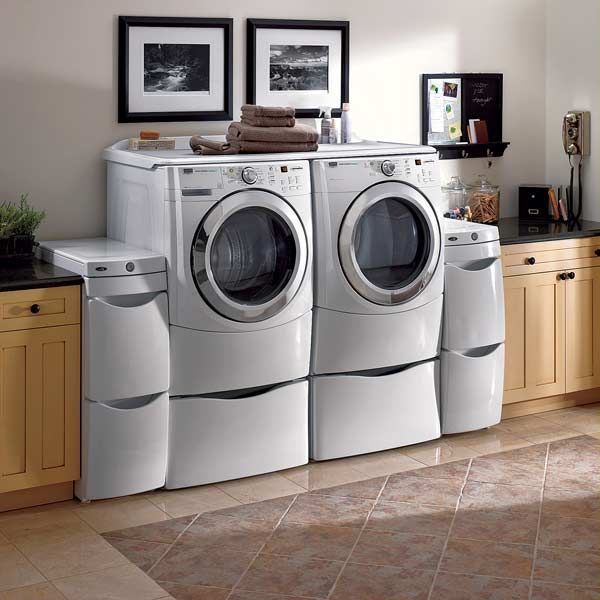 42 best Universal Design: Laundry/Mudroom images on Pinterest | Flat Laundry Room Front Load Washer Pedestal Home Designs on glass washer, counter over front-loading washer, laundry room front loader counter top,