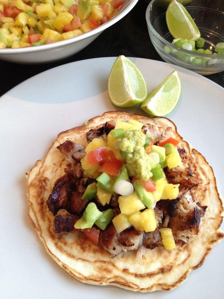 Pork Belly Tacos with Pineapple-Avocado Salsa & Avocado Mayo