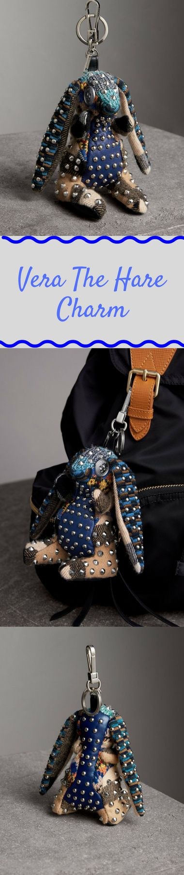A charm in studded cashmere and leather. Playful mismatches of fabrics and fastenings are stitched together to create the whimsical new characters. Attach to a day bag for an animated accent. #burberry #charms #handbagAccessories #luckyCharm #keychains #gifts #giftIdeas #ChristmasGifts #birthdayGifts #realtorsGift #giftsForHer #mom #cute #fab #fashionista #realtorLadies #love #ad