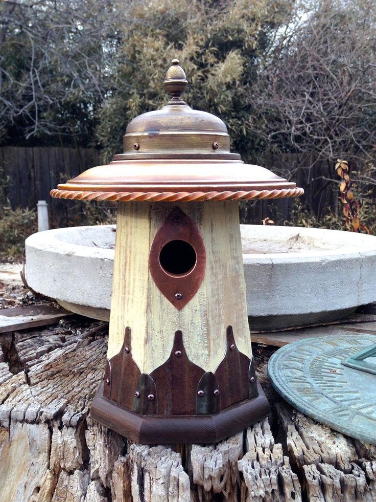 Little Wren House: Arts and Crafts birdhouse handmade from recycled wood and metal at Roundhouse Works (https://www.etsy.com/shop/Roundhouseworks)