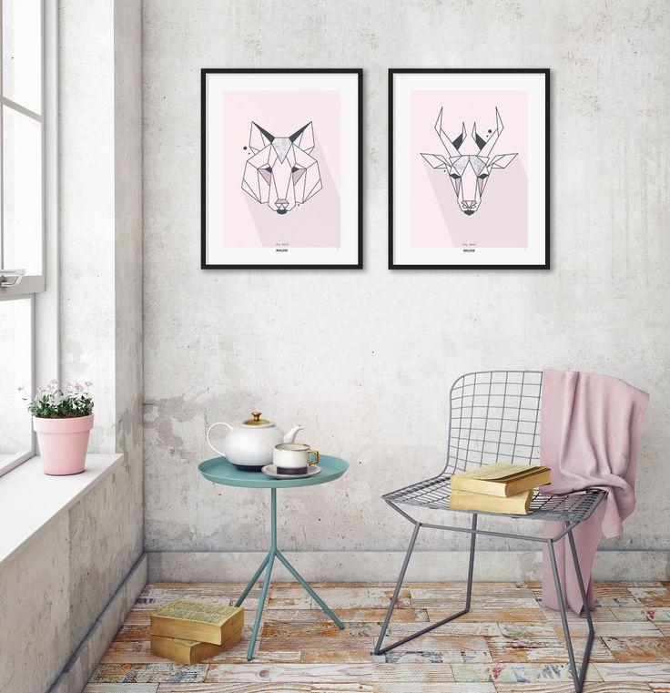 """Kombiner plakaterne """"shy wolf"""" og """"cry deer"""" med tidens sarte farver og rå detaljer. Bestil og forny dit hjem allerede i næste uge. www.wallink.dk"""