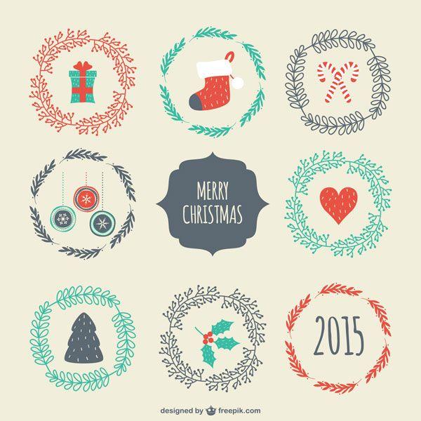 クリスマスアイテムを並べたデザインが可愛い手書き風イラストテンプレート