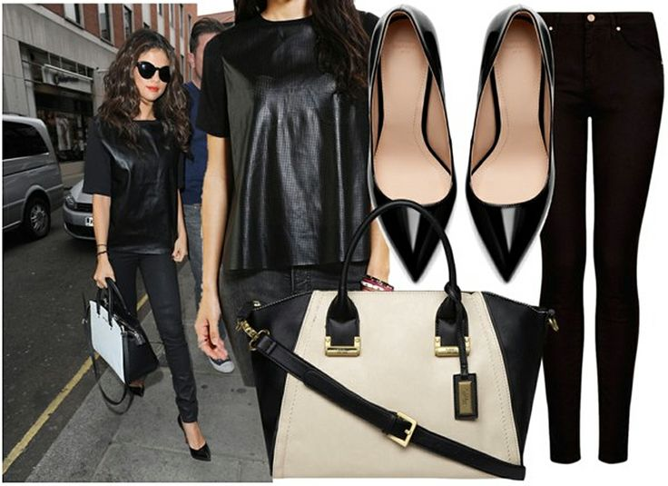 Selena Gomez's Leather Look for Less #carboncopy