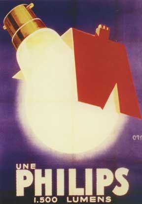 Le solei sous votre toit. Une Philips 1.500 Lumen.   Ontwerper: Orsi, geboren Raincy, 1889 in Frankrijk. Overleden  in 1947, Parijs.