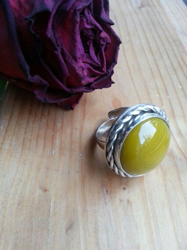 Silver Nickel Ring with Glass