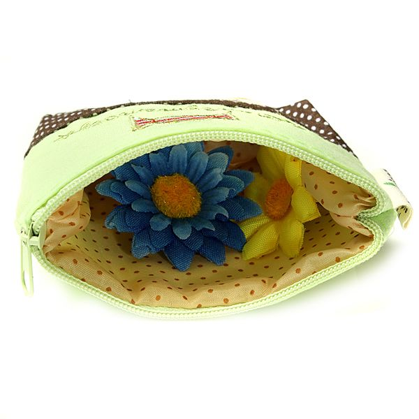 Retro White Dots Embroidery Purse Short Bag Clutch Belt Wallet