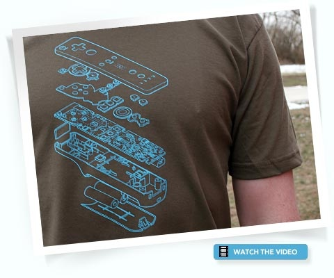 Wii T-shirt: Cool exploding schematic of the wii controller