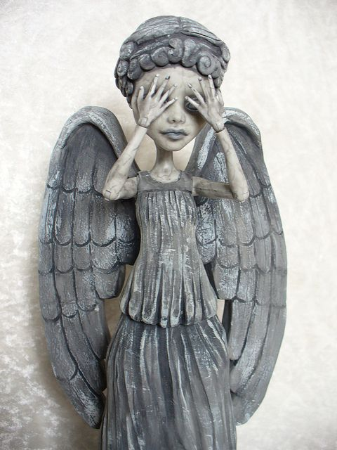 Weeping Angel Monster High custom. Love this. I collect Monster High dolls and love all the custom ones.