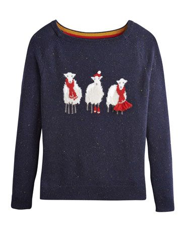 Joules null Womens Christmas Jumper, Xmas Sheep.                     We wish you a woolly Christmas and a cosy New Year. Full of character and rich with wool for warmth, our fun-filled festive intarsia jumpers are great to pull on when the decorations start going up and also when your office holds a 'Christmas jumper' competition. Which four-legged favourite will you choose?