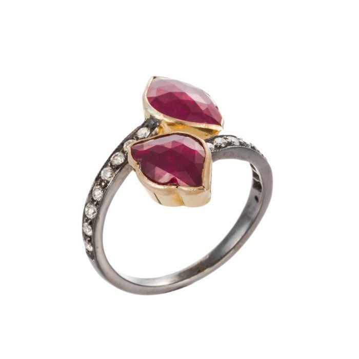 Amrapali 18K Bonded Gold & Silver Double Lotus Shaped Diamond & Ruby Ring (=)