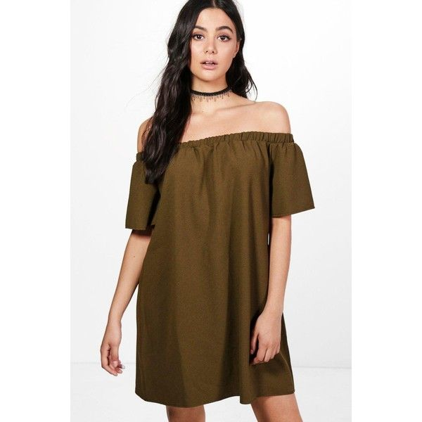Boohoo Amarta Frill Off Shoulder Shift Dress ($30) ❤ liked on Polyvore featuring dresses, bodycon party dresses, off the shoulder bodycon dress, brown maxi dress, jersey maxi dress and party dresses
