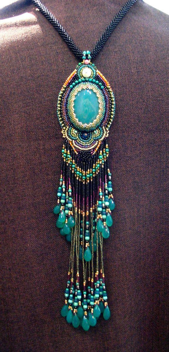 Beautiful Peacock pendant long fringe Necklace by ARTSTUDIO51 Gorgeuos!!!!