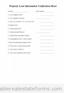 Sample Printable property loan info verification sheet 5 Form