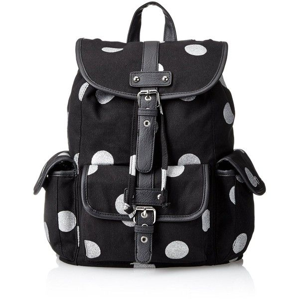 Wild Pair Polkadot Printed Canvas Backpack Handbag found on Polyvore