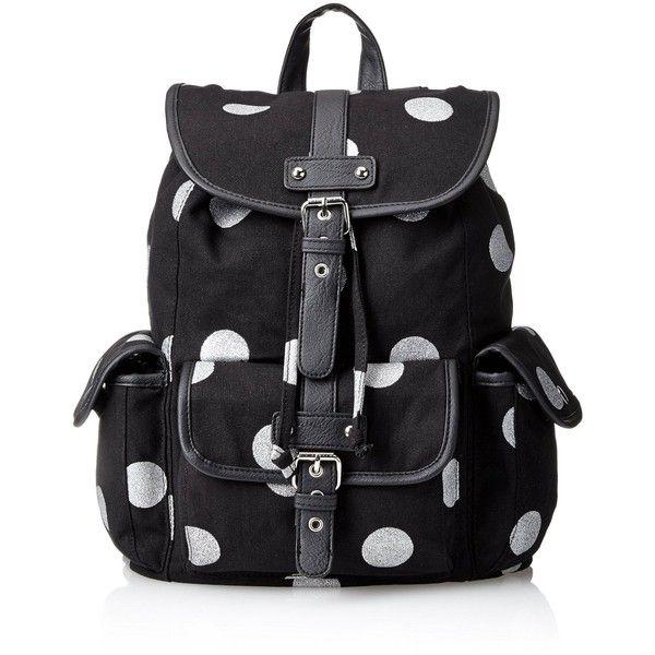 Wild Pair Polkadot Printed Canvas Backpack Handbag found on Polyvore