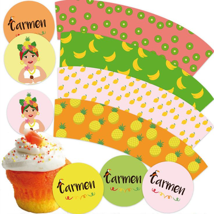 Tropical fruit wrappers and toppers. Personalized. Printable. Toppers y wrappers…