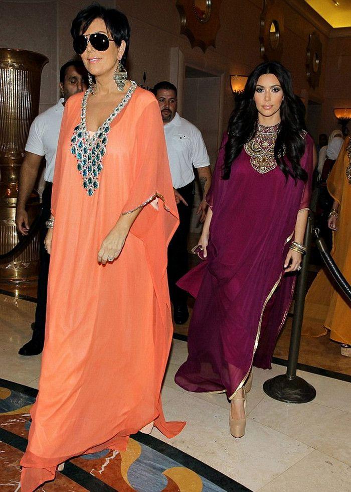Kim Kardashian and Kris Jener wearing Marena Y Sol Kaftans