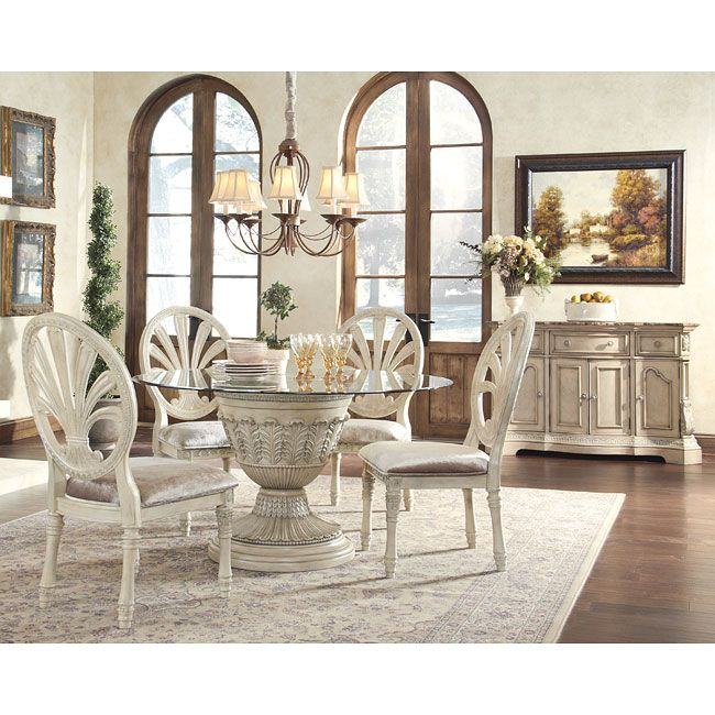 ortanique glass top table set with pierced oval back chairs by ashley millennium royal furniture dining 5 piece set
