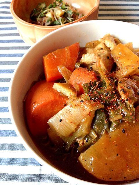 ポトフをリメイクしたカレー出汁でお蕎麦〜♪( ´▽`) - 28件のもぐもぐ - カレー南蛮、オクラとカイワレとレモンのおかか和え by KAZARA