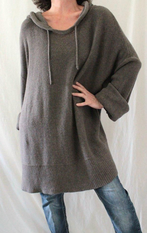 Soft Surroundings 100% Cotton L Sleeve Long Hooded Tunic Sweater Brown Sz 2X…