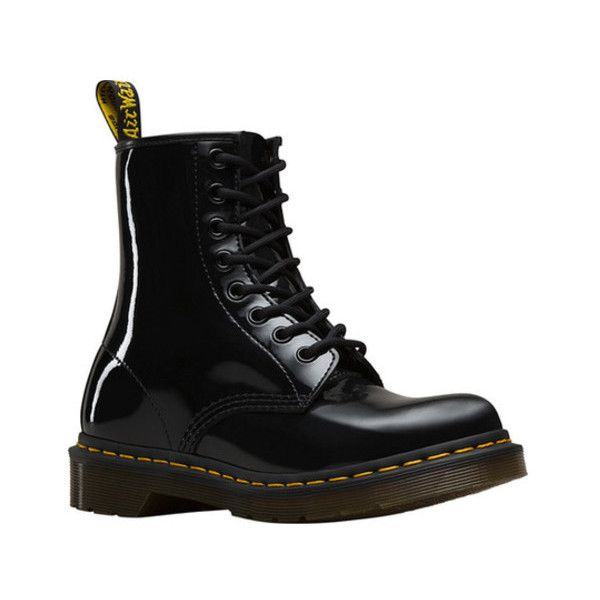 Women's Dr. Martens 1460 8-Eye Boot W ($125) ❤ liked on Polyvore featuring shoes, boots, black, casual, casual shoes, work boots, lacing combat boots, black evening shoes, lace up combat boots and lace up work boots