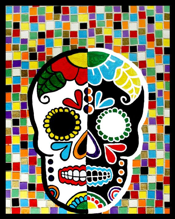 """A lovely giclee print of my """"Opposites Attract"""" Sugar Skull."""