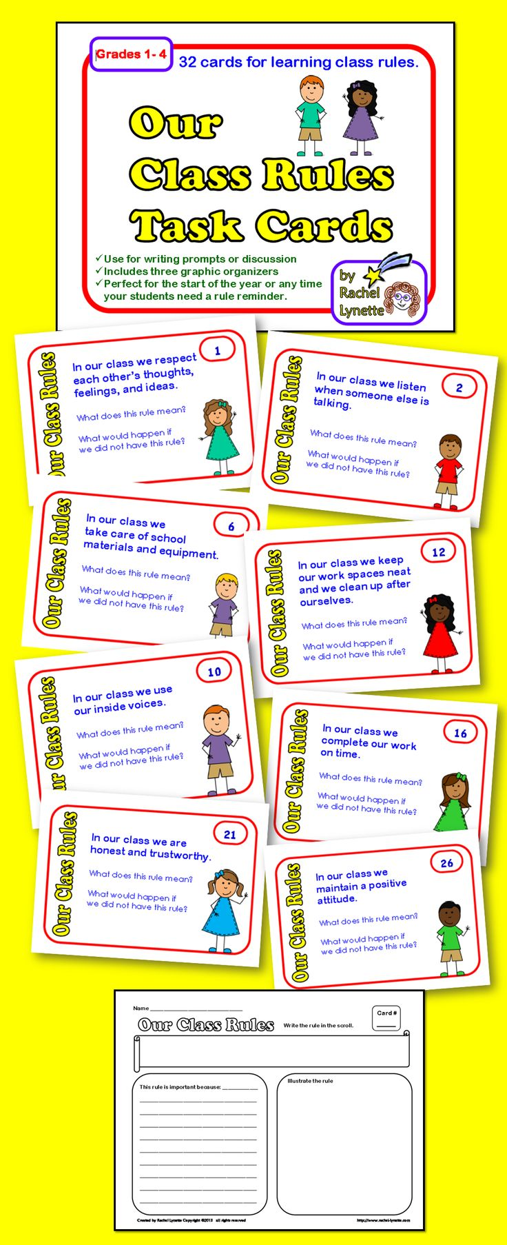 Our Class Rules Task Cards - a fun way to learn class rules!
