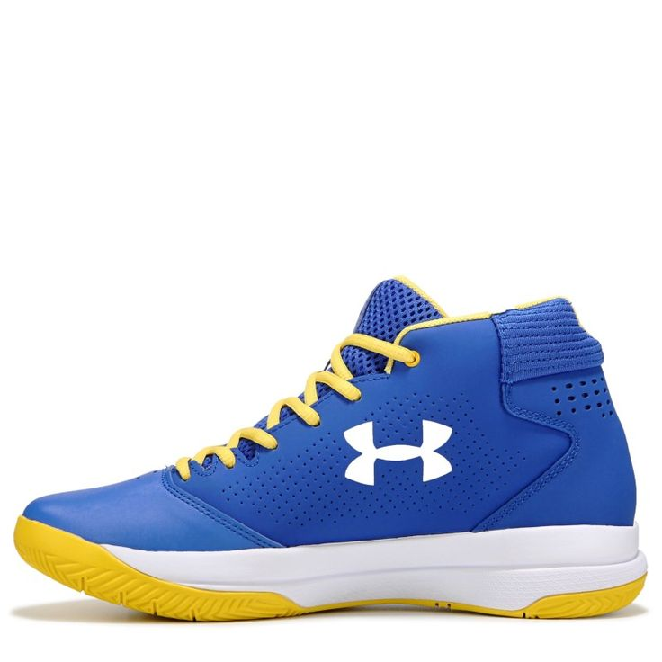 Under Armour Men's Jet Mid Top Basketball Shoes (White/Blue/Yellow)