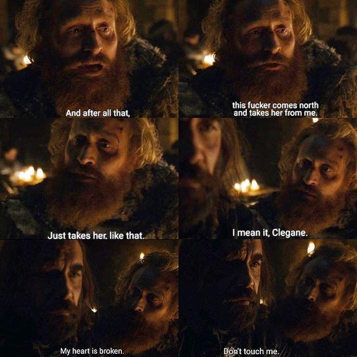 Poor Tormund! Also, poor choice of guy to comfort you.