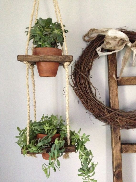 2 Tier With Pots Vertical Wall Planter Wood Hanging Rope