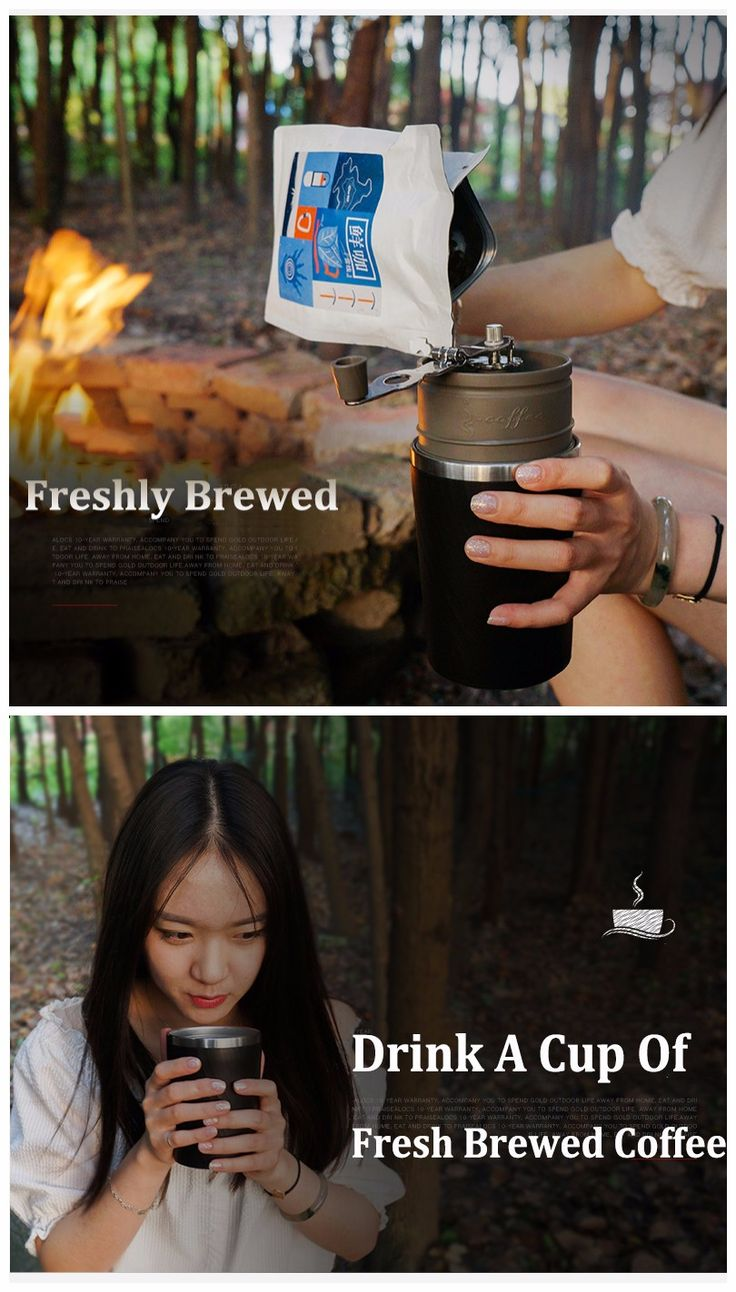 Alocs Camping Travel Coffee Grinding Machine  4 In 1 Brewed Coffee Bean Grinder Mug Cup