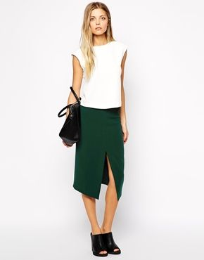 ASOS midi split front pencil skirt in green | sale $26.53