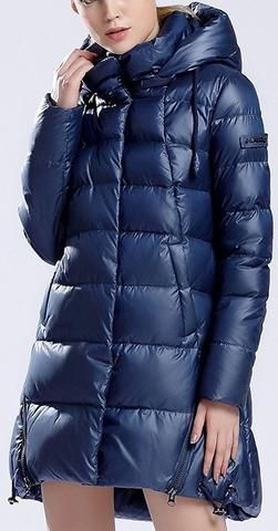 Hooded Short Thick Down Puffer Coat in Blue