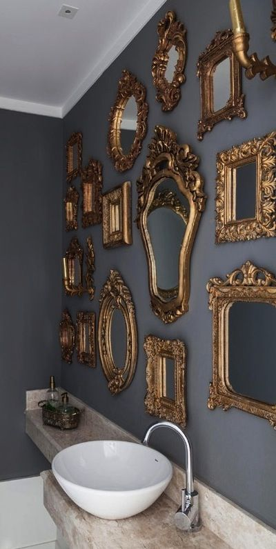 Instead of one large framed mirror over a sink - how about a collection of smaller custom framed mirrors, hung gallery style?! A mixture of old and newly custom framed pieces will create a designer look, that appears to be collected over time.