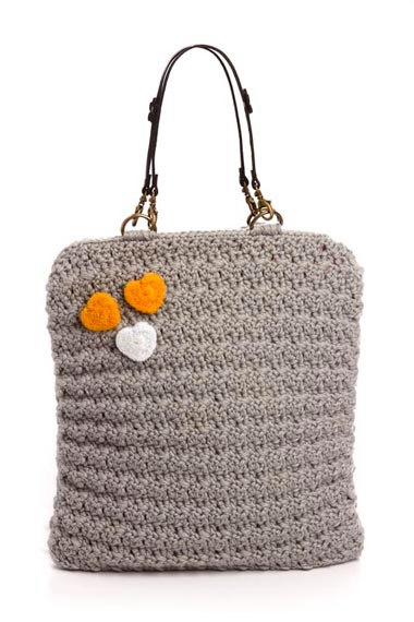 silver crochet bag with 3 felted hearts by LilyPuka on Etsy