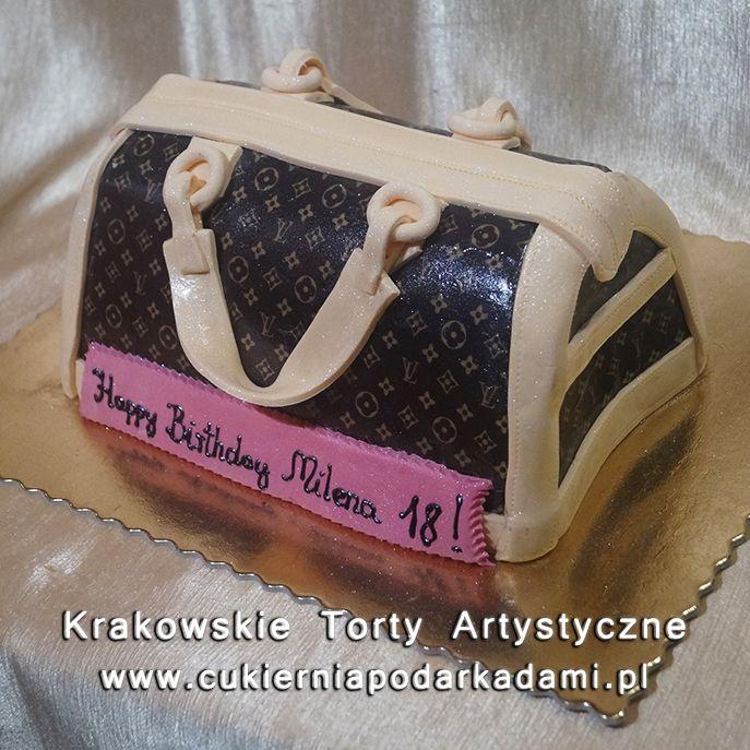 197. Przestrzenny tort w kształcie torebki Louis Vuitton. LV bag cake.
