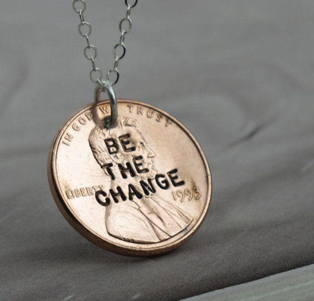 Metal Stamping! BE THE CHANGE Stamped Penny Necklace | http://diyready.com/metal-stamping-ideas-diy-projects/