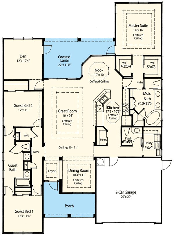 Floor Plan Of Net Zero Ready House Plan 33000ZR. AC In The Cooled Space,