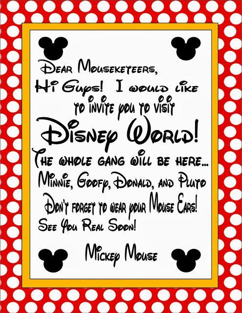 Free Printable: Invitation for Disney World Trip
