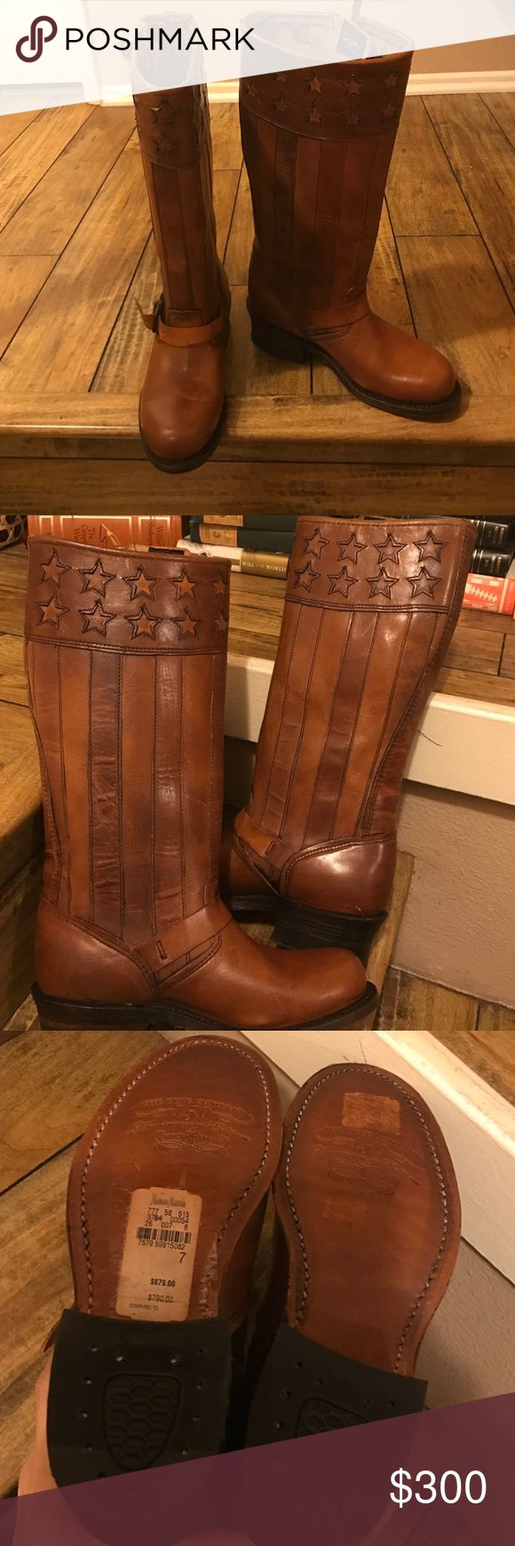 Frye Stars and Stripe Boots Gorgeous. Like new. Authentic. No trades. Frye Shoes Winter & Rain Boots