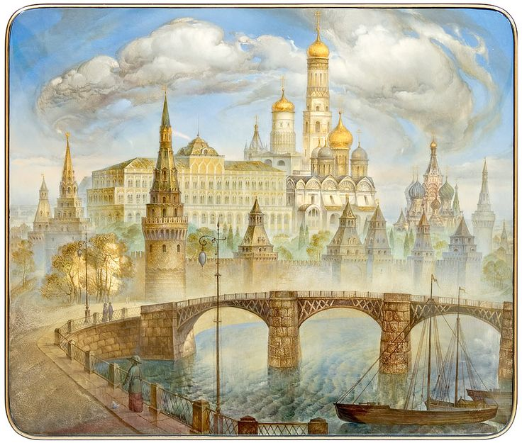"Vladimir Monashov ""Moscow"" Fedoskino | The Inna Kaufman Gallery | Russian Lacquer Miniature Art"