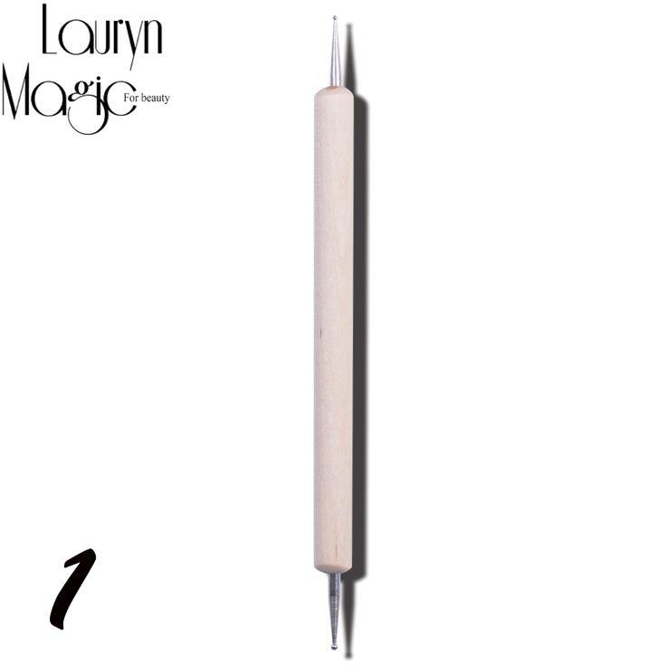 Neue 1 Stücke 2 Way holzgriff Nägel Kunst Builder Pinsel Punktierung Pen-Set Acryl UV Gel Maniküre Nagel Schönheit werkzeuge