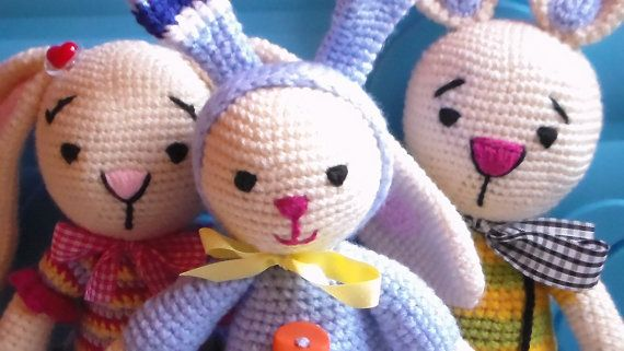 Bunny family  crochet amigurumi  farm animals by Enkiworld on Etsy